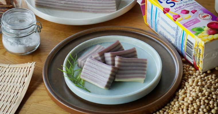 Steamed Purple Sweet Potato Soy Layered Cake