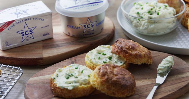 Cheese Scones with Herb Cream Cheese